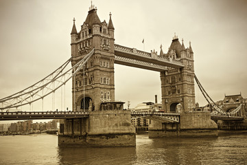 Vintage view of Tower Bridge, London. Sepia toned