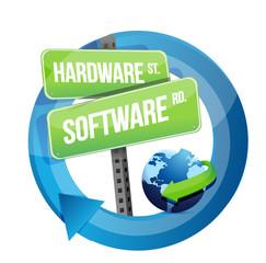 hardware, software road sign illustration design