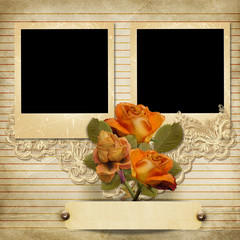 Vintage gorgeous background with a polaroid-frames and a roses