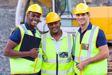 Fototapeta smiling construction workers obraz