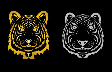 Tiger head silhouette. Vector illustration isolated
