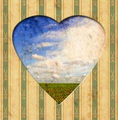 Papiers peints Affiche vintage Vintage Heart - Natur