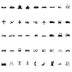 Transport silhouette icon set