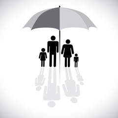 Concept vector graphic- family protection(insurance) & umbrella