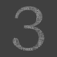 number three created from text - illustration