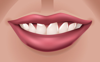 Woman's big red smiling lips - illustration