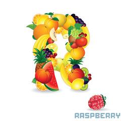 Alphabet From Fruit. Letter R
