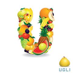 Alphabet From Fruit. Letter U