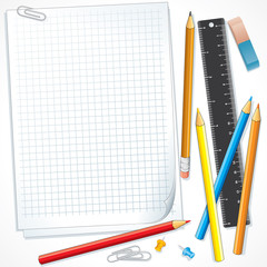 Notebook Paper with Pencils. Illustration
