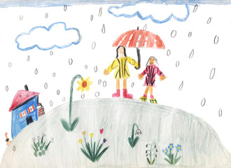 Kinderzeichnung - Regenwetter