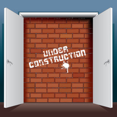 Doors Open to Brick Wall with Under Construction
