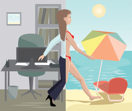 girl stepping from office to sea beach
