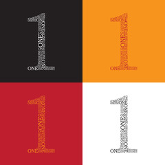 Set of number one created from text - illustration