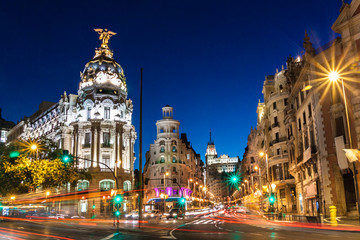 Photo sur cadre textile Madrid Gran Via in Madrid, Spain, Europe.
