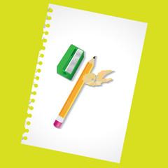 Sharpened pencil and the sharpener - illustration