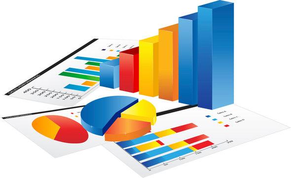 3d graph and a paper with statistic charts