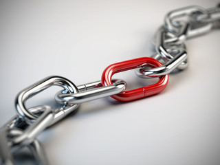 Chrome chain with a red link