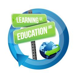 learning education road sign illustration design