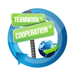 teamwork cooperation road sign illustration