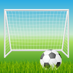 Football goal with ball