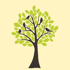 bird sitting on tree branch, vector