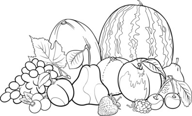 fruits group illustration for Coloring Book Wall mural