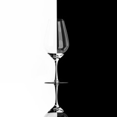 glass of wine on the black and white contrast background