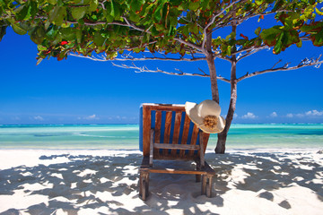 Foto auf Leinwand Sansibar Zanzibar tropical and beach chair at the beach