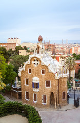 Entrance pavilion of the Park Guell in Barcelona, Spain