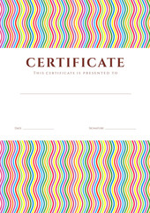 Colorful Certificate / Diploma template (line design). Wave