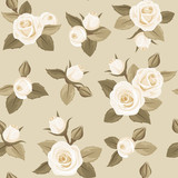 Vector seamless pattern with white roses on beige.