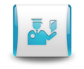 "Light Blue 3D Effect Icon ""Immigration Symbol"""