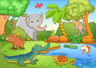 Photo sur Plexiglas Dinosaurs animals in forest.