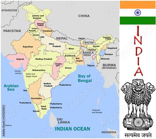 India Asia emblem map symbol administrative divisions Stock image