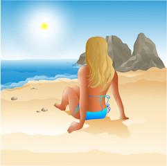 sea, mountains, sun, beach, girl