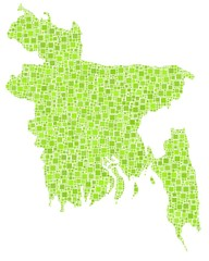 Map of Bangladesh - Asia - in a mosaic of green squares