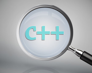 Magnifying glass showing c++ word