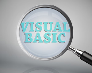 Magnifying glass showing visual basic word