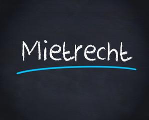 Mietrecht word written on blackboard
