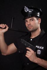 Policeman with guns