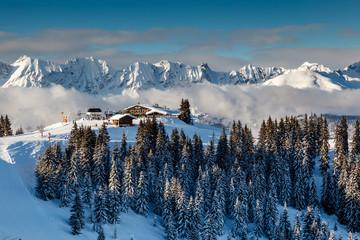 Ski Restaurant on the Mountain Peak near Megeve in French Alps,
