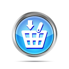Blue shopping basket icon on a white background
