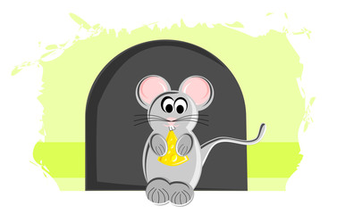 Cartoon Mouse with Piece of a Cheese