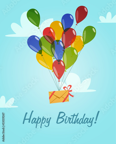 Retro Vintage Happy Birthday Card With Balloons Stock Image And