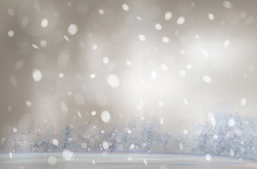Vector of winter landscape, snowfall.