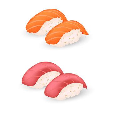 salmon and makuro sushi