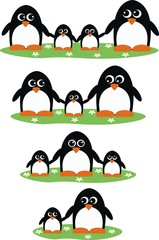 penguin family header print