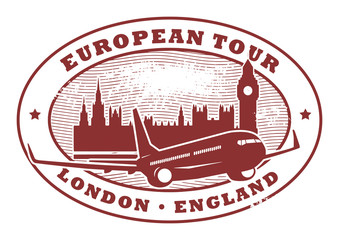 Stamp with words European Tour, London, England inside, vector