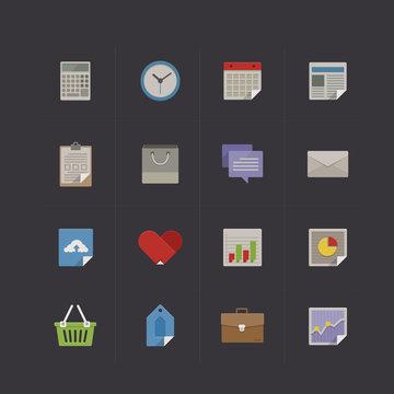 Business metro retro icon set vector illustration