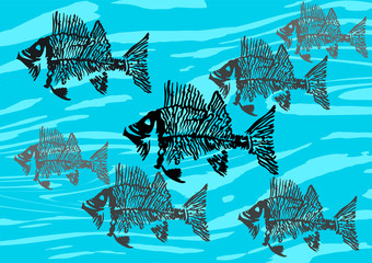 Silhouettes of decorative fish skeletons